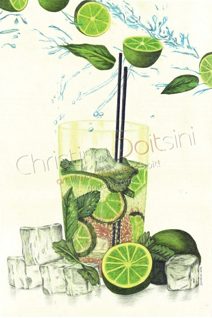 Mojito. Mixed media drawing: coloured pencils, pastels, pencil, charcoal and chalk on yellow paper