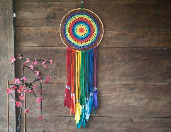 Extra Large Dream Catcher - Rainbow Chakra Crochet Dreamcatcher  Extra large handmade dream catcher crocheted into a colorful rainbow. Dream