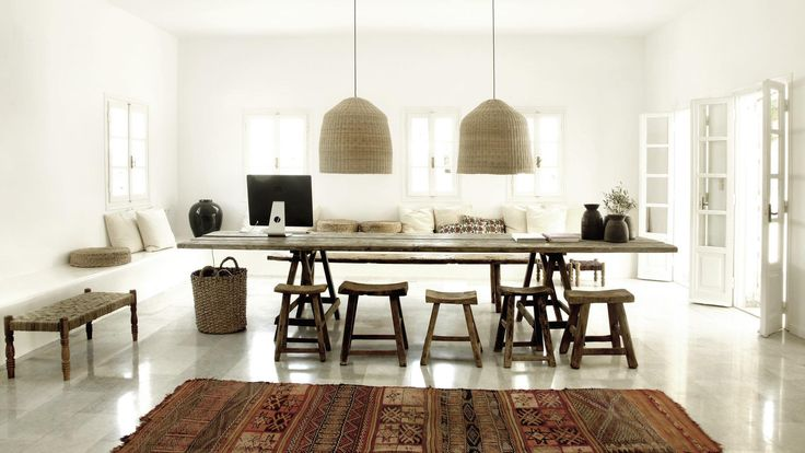 Stools and daybed from Bloomingville. San Giorgio Mykonos Hotel, Greece  <3
