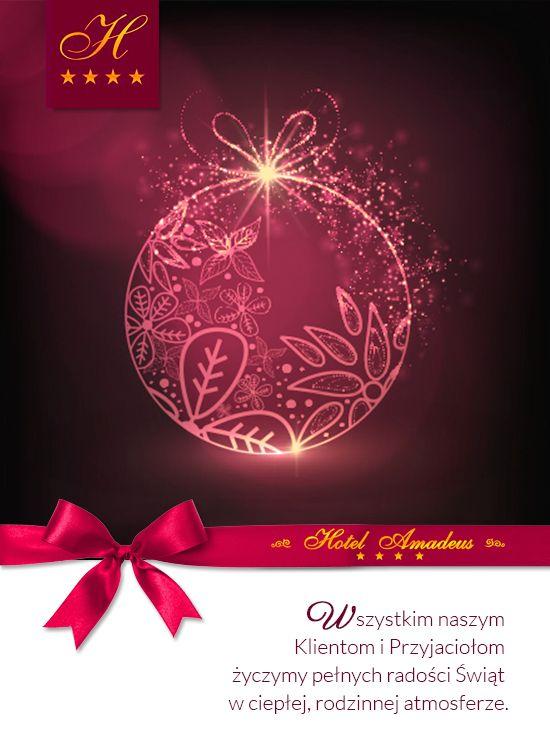WESOŁYCH ŚWIĄT!  Z okazji nadchodzących świąt Bożego Narodzenia, chcielibyśmy życzyć wszystkim zdrowia, szczęścia, radości, codziennej pogodności i energii do działania oraz spełnienia wszelkich marzeń!   Zespół Hotel Amadeus