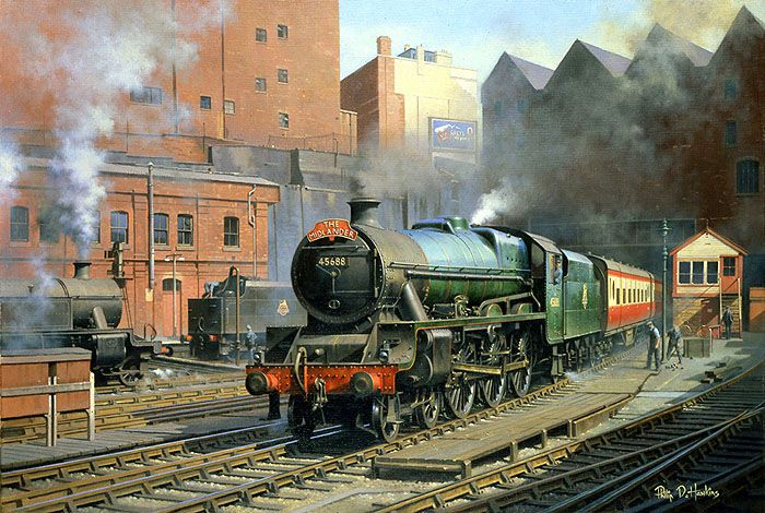 Stanier Jubliee class No. 45688 'Polyphemus' entering Birmingham New Street station in 1956.