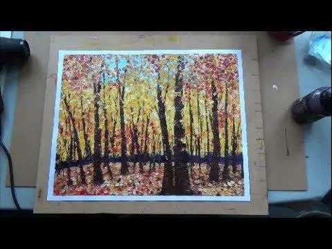 Acrylmalerei Techniken - Tupftechnik - Herbstwald - YouTube