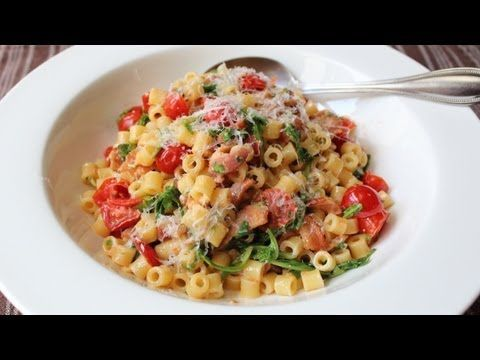 B.L.T. Pasta Recipe - Pasta with Bacon, Lettuce (Arugula), and Tomato Sauce