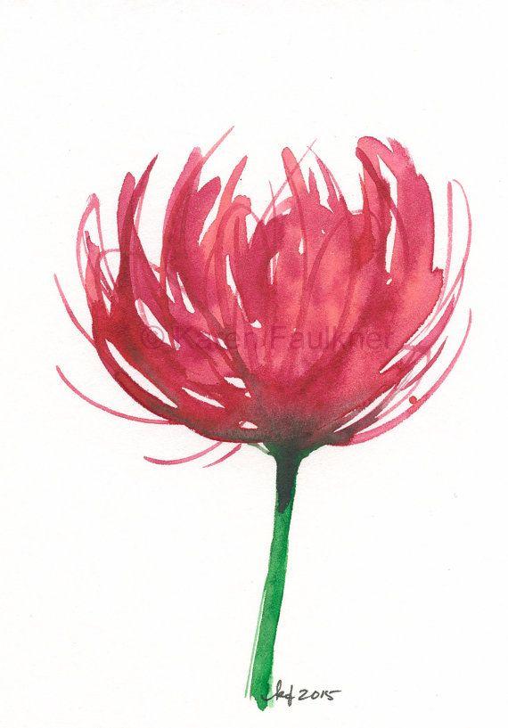 Original watercolor flower painting of a red by karenfaulknerart