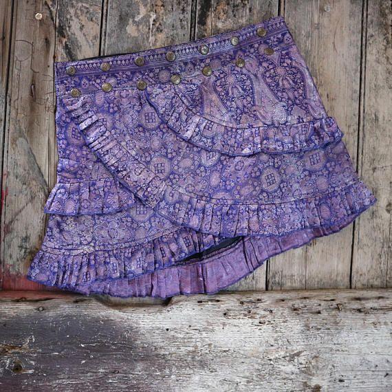 Tribal Belly dance Summer layer skirt!  MERMAIDS LABYRINTH Ruffle Skirt: Silver Tribal