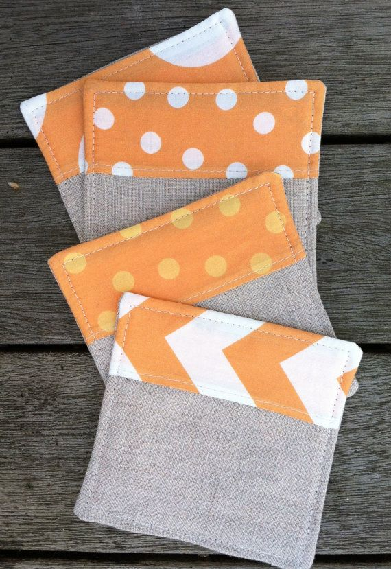 Linen Fabric Coasters Modern Tangerine on Etsy, $16.00