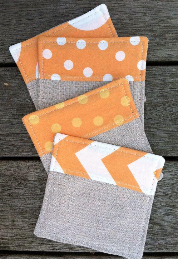 Linen Fabric Coasters Modern Tangerine on Etsy, $16.00