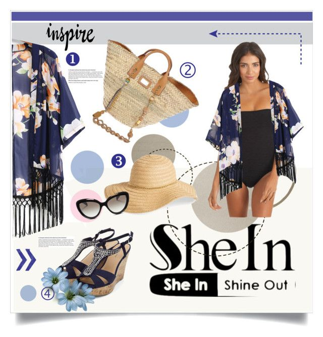 Sheinside beach look by lailah37 on Polyvore featuring moda, Reef, Dolce&Gabbana, David & Young and Prada