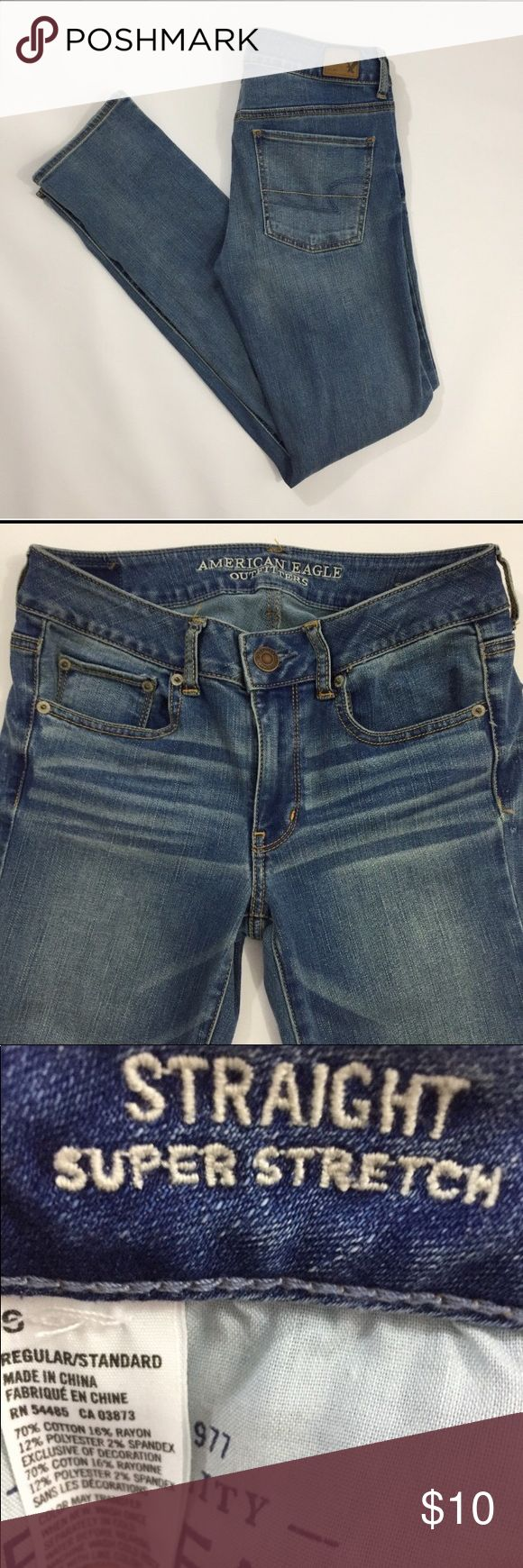 American Eagle super stretch jeans 👖 *re-posh* American Eagle super stretch straight leg jeans. Bought these, perfect condition, too small for me. Paid $14, will sell for $10. American Eagle Outfitters Pants Straight Leg
