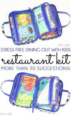 GENIUS! Make eating out less stressful and more fun for parents and kids alike by creating a restaurant kit! More than 20 suggestions for kids, as well as essentials for babies and toddlers!