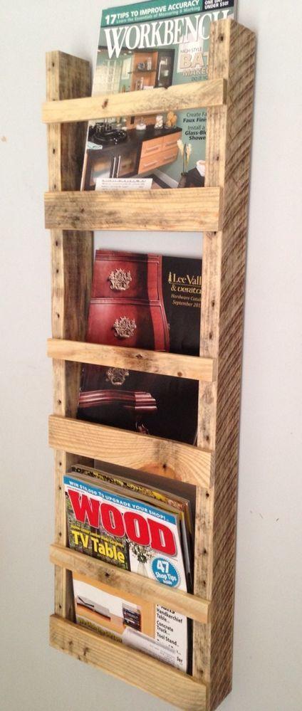 Handmade Wall Hanging Magazine Rack Reclaimed Pallet Wood Upcycled #Handmade