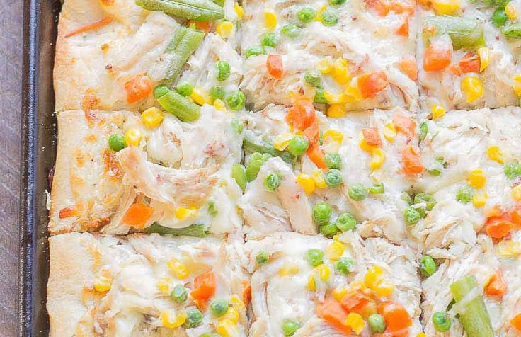 Turkey Pot Pie Slab Pizza- maybe I can make this with pie crust?