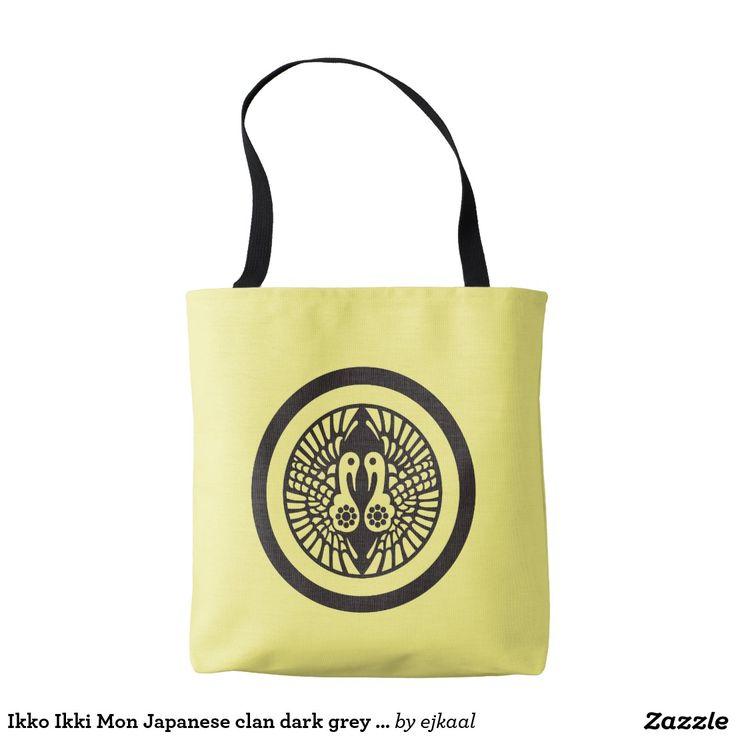 Ikko Ikki Mon Japanese clan dark grey on yellow Tote Bag