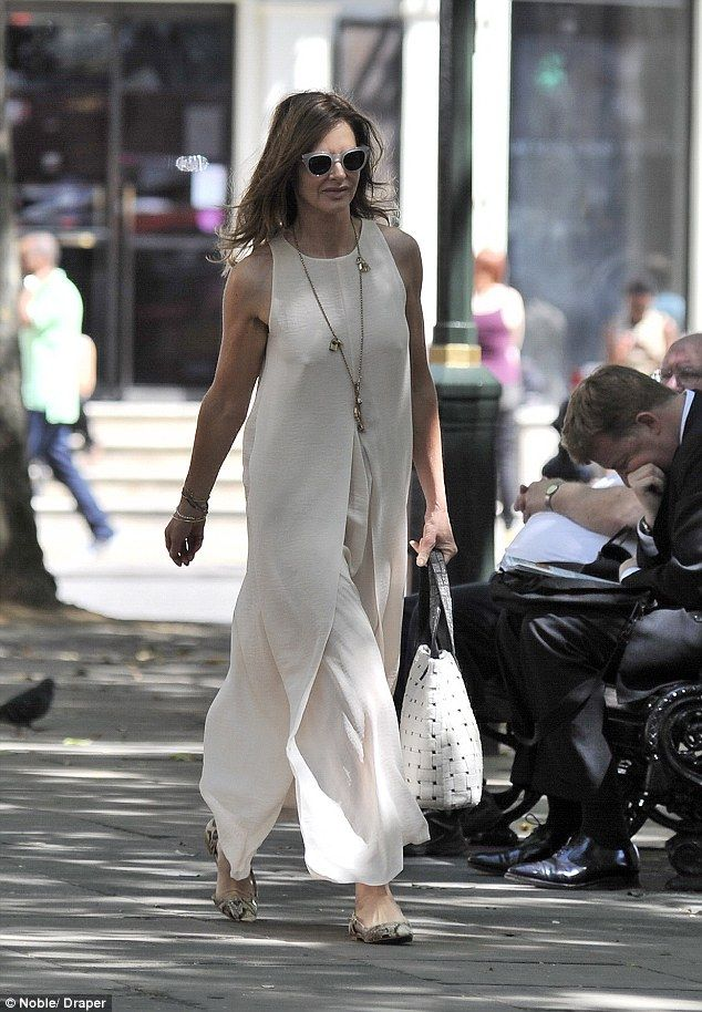 Feeling chilled: Trinny Woodall stepped out in Sloane Square without a bra, wearing a floa...