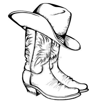 Cowboy boots and hat graphic illustration Stock Photo I want to decoupage this…