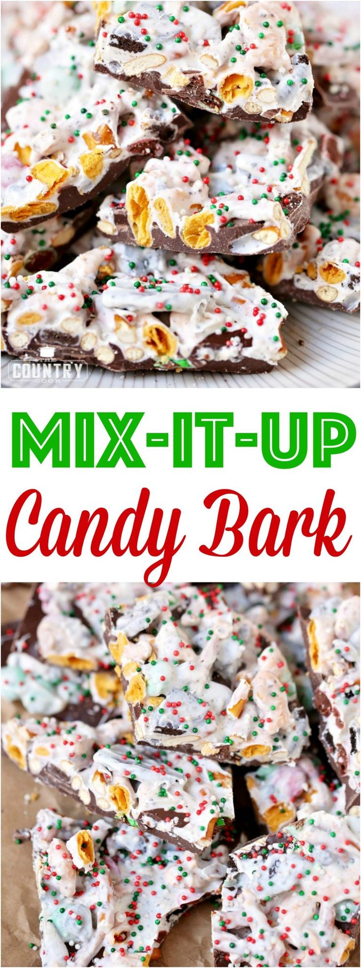Mix-It-Up Christmas Candy Bark (No-Bake) recipe from The Country Cook #candy #Christmas #bark #desserts #snacks #gifts #homemade