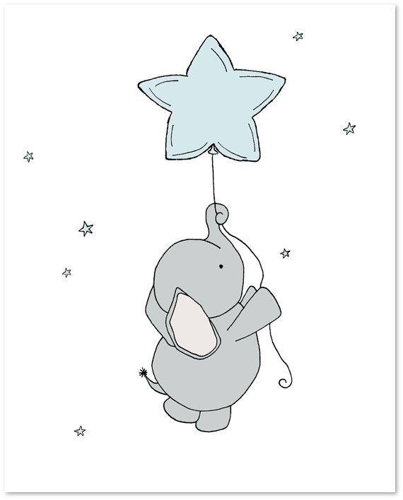 Elefant Kinderzimmer Kunst – Set von 3 Drucke – Elefanten Mond und Sterne Kunst – blau und grau – junge Kinderzimmer Kunst – jungen Zimmer – Kinder Wandkunst