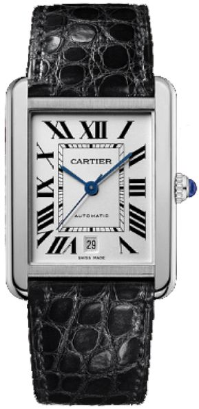 W5200027  NEW CARTIER TANK SOLO MENS STEEL WATCH IN STOCK   - FREE Overnight Shipping   Lowest Price Guaranteed    - NO SALES TAX (Outside California)- WITH MANUFACTURER SERIAL NUMBERS- Roman Numeral Silver Opaline Dial- Circular Crown Set With A Sapphire Cabochon- Sword Shaped Blue Hands- Date Feature - Self Winding Automatic Movement- 3 Year Warranty- Guaranteed Authentic - Certificate of Authenticity- Manufacturer Box