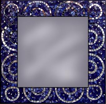 Square Scalloped Mosaic Mirror