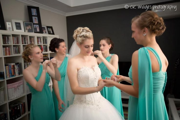 Gorgeous Green Bride & maids by Total Brides hair & makeup