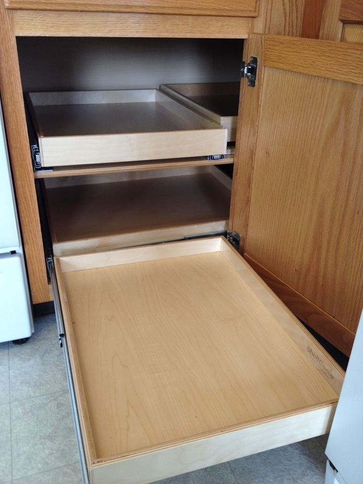Blind corner solution installed in my client 39 s kitchen for Bottom corner kitchen cabinets