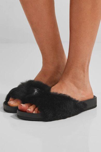 Vince - Garrison Shearling-trimmed Leather Slides - Black - US6.5