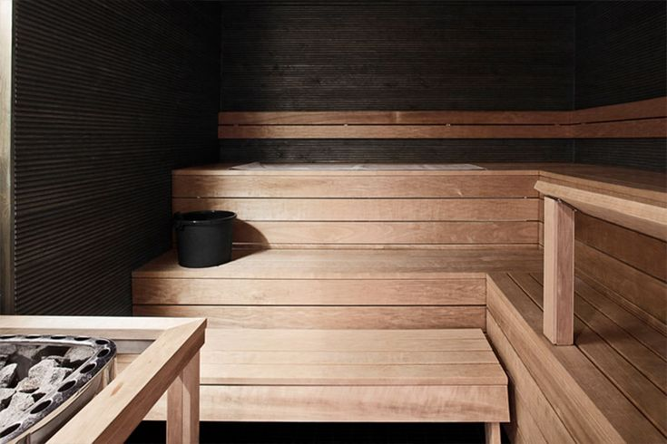 Sauna with dark walls makes a nice mystic atmosphere