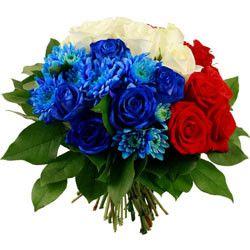 bouquet de fleurs : bleu,blanc, rouge