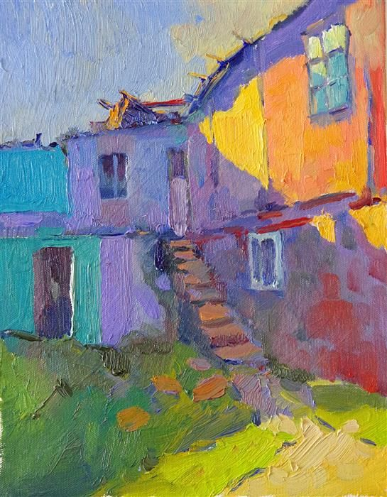 """""""Colors of Old Houses (Sunset)"""" by Suren Nersisyan. Gorgeous semi-abstract painting with lots of warm/cool contrast!"""