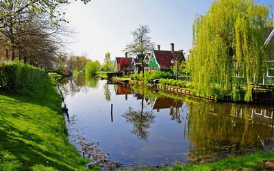 Canal in the village wallpaper