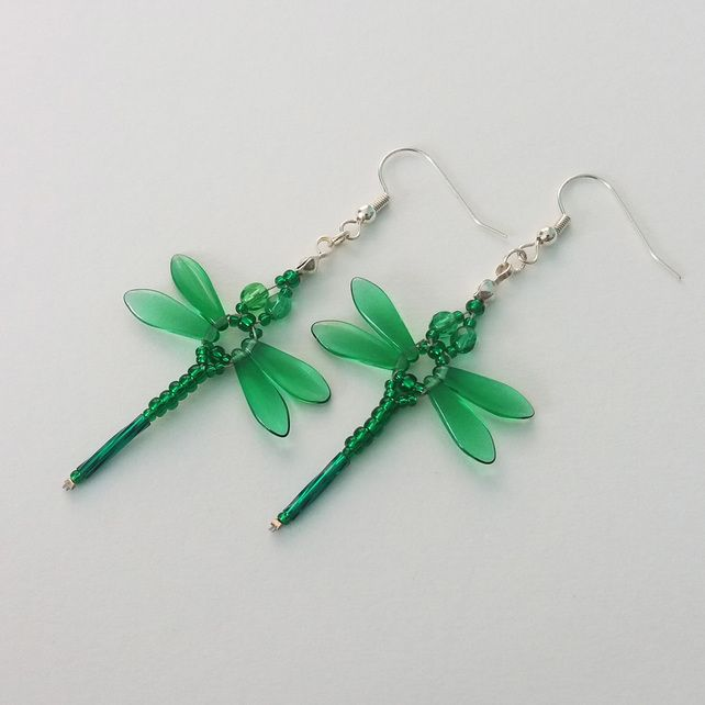 Beaded Dragonflies Earrings – Green £10.00