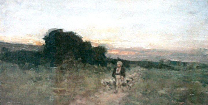 Cioban cu oi în apus de soare
