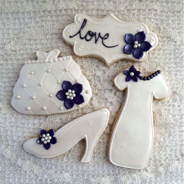 Elegant white wedding cookie favors - Kyrsten's Sweet Designs | Custom Designed Cakes and Cookie Favors