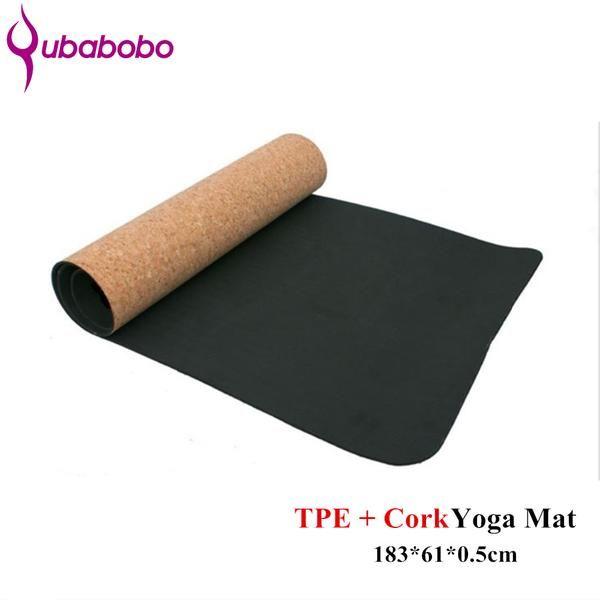 5MM Non-slip TPE+Cork Brand Yoga Mats For Fitness Natural Pilates Gymnastics Mats Sport Mats Yoga Exercise Pads Massage Mats