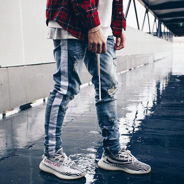 3bdf257f Side Zipper Slim Distressed Jeans Men justin bieber Ripped tore up Jea –  myshoponline.com