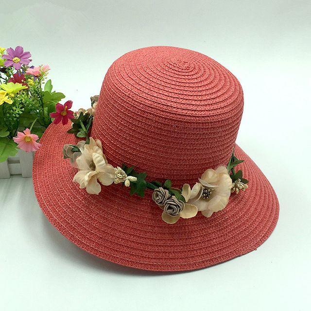 Estilo Country! Cap Sol das mulheres Dobráveis Flores Ladies Beach Sun Tampas Disquete Chapéu Senhora Chapéu de Palha Chapéus de Verão
