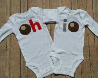 Boy or Girls OHIO Buckeye Sibling or Twins Shirt Set - Buckeye Baby - Ohio State