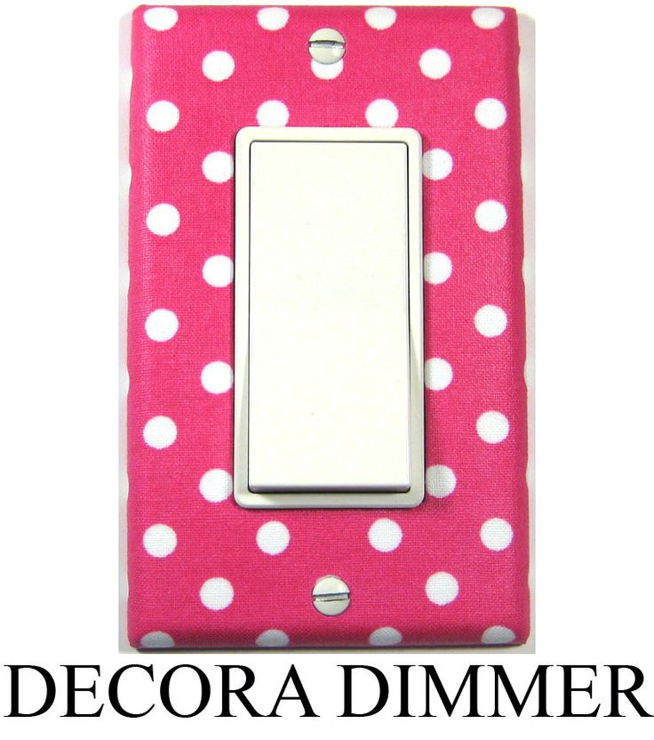 Hot Pink and White Polka Dots pattern in the Decora style. Dimmer / Rocker Switch Plate.