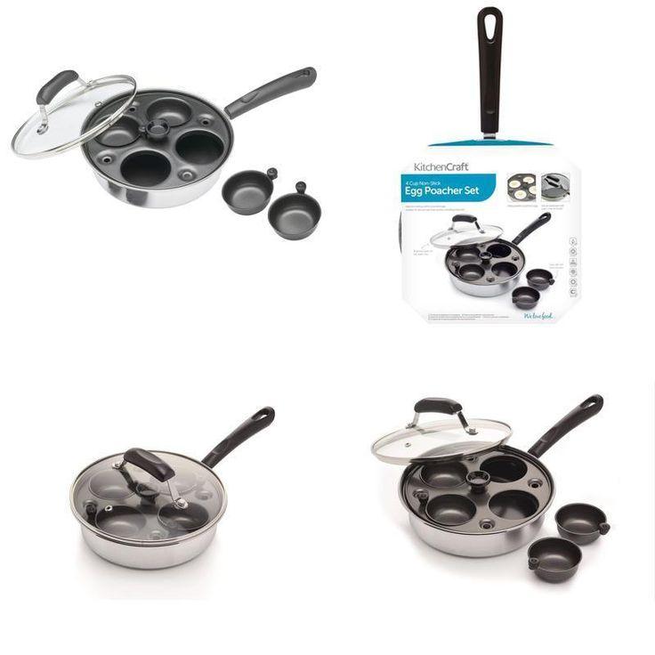 Kitchen Craft Carbon Steel Induction-Safe 4-Cup Egg Poacher / Sauté Pan