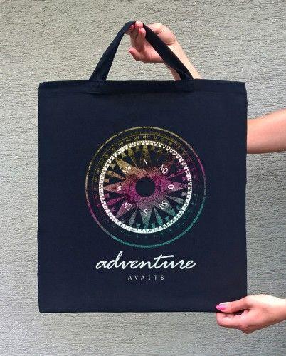 ADVENTURE (torba bawełniana z którkim uchem, kolor czarny) - tylko 22,50 PLN