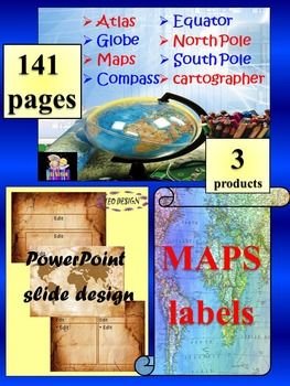The zip file contains: 3 products1. MAPS and GLOBES- Interactive PowerPoint presentationThis is a beautiful and informative 36 slide PowerPoint presentation. This is a super fun and interactive slide show. - Globe- Cardinal Directions- Intermediate Directions- Compass- Equator- Northern Hemisphere- Southern Hemisphere- North Pole- South Pole- Prime Meridian- Western Hemisphere- Eastern Hemisphere- Imaginary Line- Geographic coordinate system- Longitude- Latitude- Atlas- Title of Map- Legend…