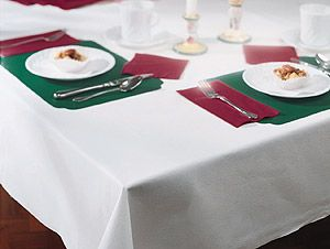 Linen like paper banquet table covers at half the cost of renting table linens?  Worth looking into!