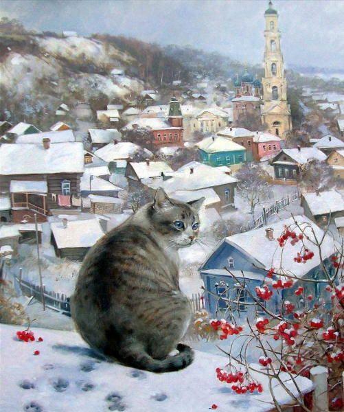 Winter cat painting. Ekaterina Shtuts - Winter Town