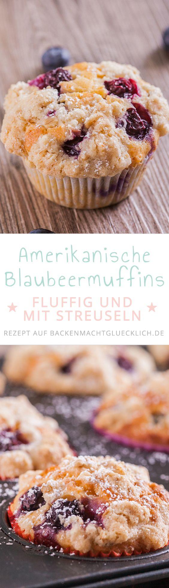 Amerikanische Blaubeer-Muffins mit Haferflockenstreuseln. Die Blueberry Muffins sind super einfach zu machen, fluffig und locker. Das liegt auch an der Buttermilch im Heidelbeermuffins-Rezept.