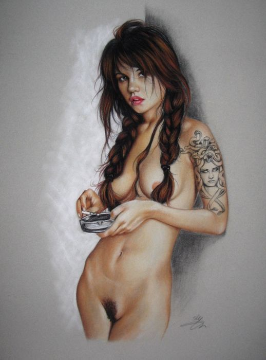 """Catawiki Online-Auktionshaus: Pin-up art Sly - """"The cigarette afterwards"""" - 2016"""