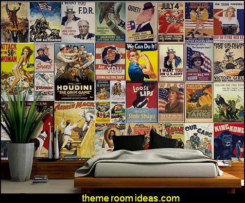 American Posters Collage With Vintage War Propaganda And Classic Movie Posters Wall Mural In 2020 Movie Poster Wall Theater Room Decor Art Collage Wall