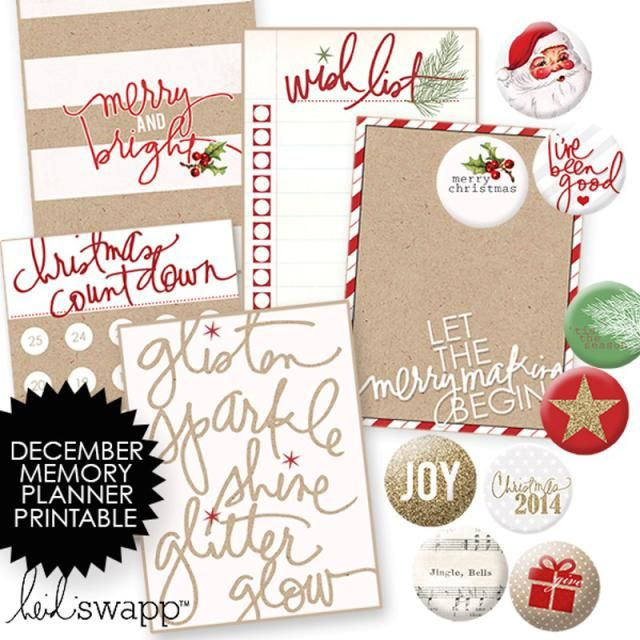 12 Free Christmas Printables and Project Life Cards for Scrapbooking: Free Printables from Heidi Swapp