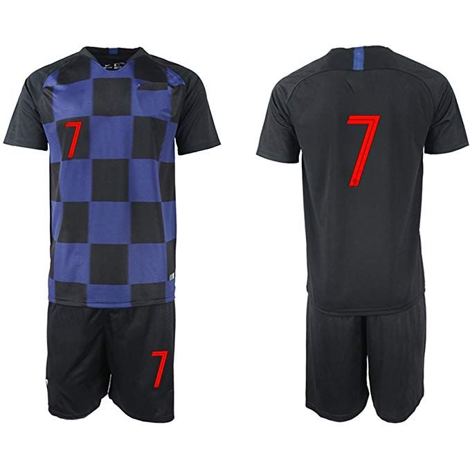 1cdaa5fbd56 2018 World Cup Croatia National Team  7 Men Away Black Soccer Jersey - XL