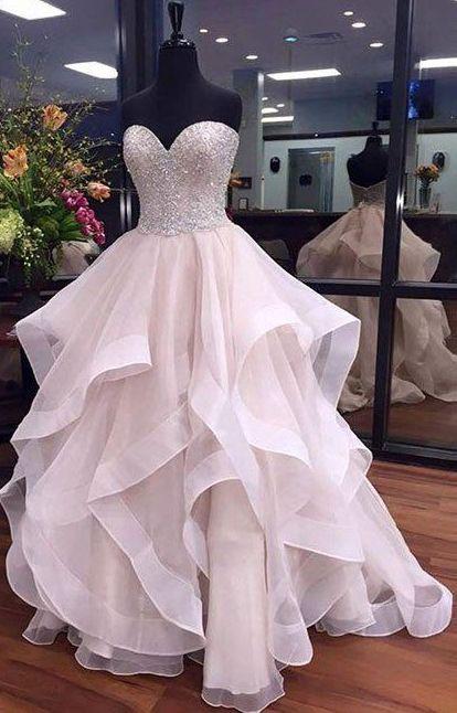 Popular Sweetheart Beaded Organza Long Prom Dress