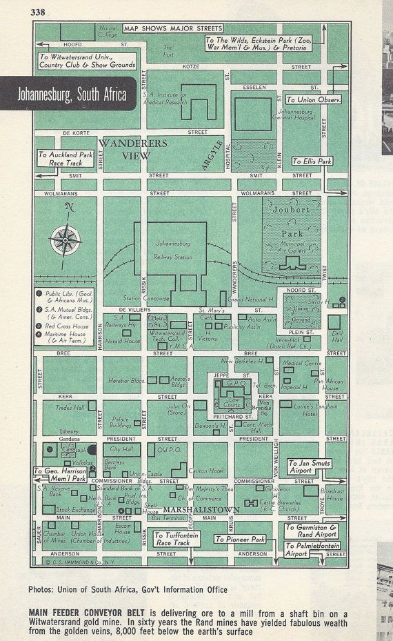Johannesburg South Africa Map, City Map, Street Map, 1950s, Green, Black and White, Retro Map Decor, City Street Grid, Historic Map, Africa